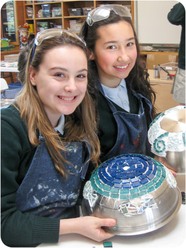 art students making mosaic