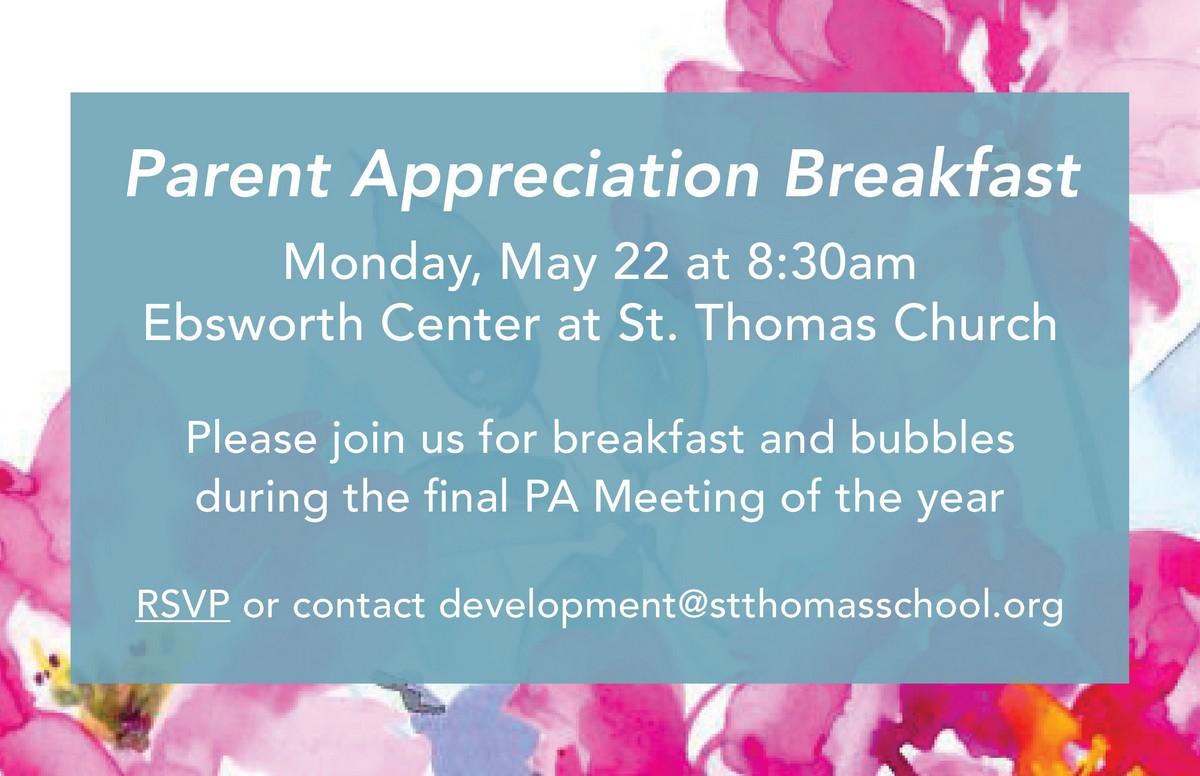 Parent Appreciation Breakfast - St. Thomas School